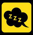 yellow black sign - zzz speech bubble icon vector image vector image