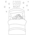 little girl sleeping soundly with her toy sketchy vector image
