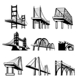 Bridges in perspective icons set vector image