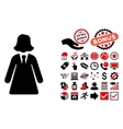 Business Lady Flat Icon with Bonus vector image