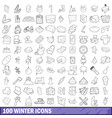 100 winter icons set outline style vector image vector image