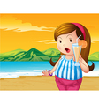 A fat woman holding an orange juice at the beach vector image