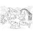 African animals in the jungle in black and white vector image vector image