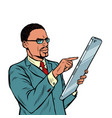 african businessman and smartphone with big screen vector image vector image