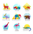 animals logo zoo low poly triangular geometric vector image
