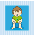 Baby boy sitting on the potty vector image vector image
