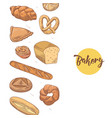 bakery hand drawn background with fresh bread vector image vector image