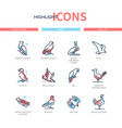 bird species - modern line design style icons set vector image vector image