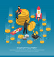bitcoin cryptocurrency technology isometric poster vector image vector image