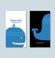 blue whale business cards design vector image