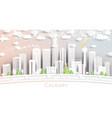 calgary canada city skyline in paper cut style vector image vector image
