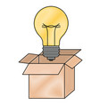 cardboard box and light bulb in colored crayon vector image