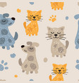 childish seamless pattern with cute dogs and cats vector image vector image