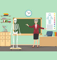 classroom with human skeleton and teacher vector image vector image