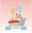 cute cake party gifts balloons decoration vector image