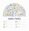 elderly people concept in half circle vector image vector image