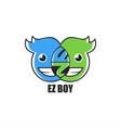 ez emoticon boy logo design vector image