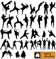 fighting silhouettes vector image vector image
