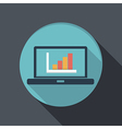 flat icon laptop with symbol diagram vector image