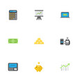 flat icons ingot money money box and other vector image