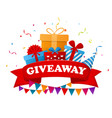 giveaway text above with confetti explosion inside vector image
