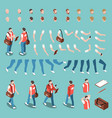 isometric character constructor set vector image vector image