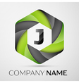J Letter colorful logo in the hexagonal on grey vector image vector image