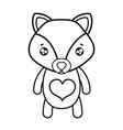 line tender fox cute wild animal vector image