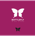 logo bottlefly wine butterfly wings silhouette vector image