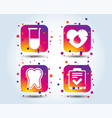 medical icons tooth test tube blood donation vector image