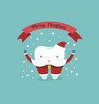 merry christmas of dental with santa claus tooth vector image