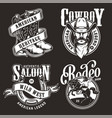 monochrome wild west labels vector image vector image