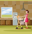 mother feeds baby in kitchen interior cartoon vector image