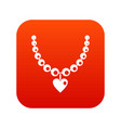 necklace icon digital red vector image vector image