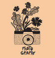 old doodle style camera with flowers graphics vector image