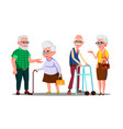 old people man woman standing walking with stick vector image