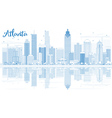 Outline Atlanta Skyline with Blue Buildings vector image vector image