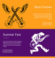 rock forever and summer fest collection of posters vector image vector image