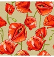 Seamless floral background with red poppy vector image vector image