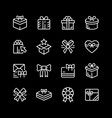 set line icons gift vector image vector image