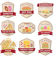 Set of vintage fast food badge banner or logo