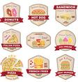 set vintage fast food badge banner or logo vector image vector image