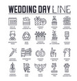 set wedding day celebration icons pictograms vector image