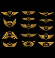 set wings icons in golden style design vector image