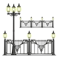 shod street fence with lanterns - isolated vector image vector image