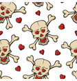 skull with hearts pattern vector image vector image