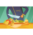 Slicing Vegetables vector image vector image