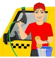Smiling teen boy washing a taxy car vector image vector image