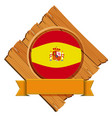 spain flag on wooden board vector image vector image