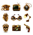 steampunk icons set vector image vector image